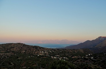 View to sunset in Elounda Crete, Greece